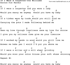 country if i were a carpenter don williams lyrics and chords