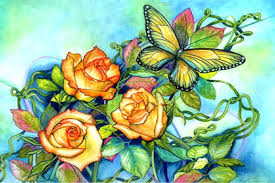 beautiful wings petals paintings butterfly designs roses