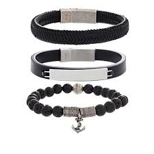 stainless steel mens bracelet images Steve madden set of 3 stainless steel men 39 s bracelets 8540490 hsn jpg