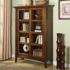 Wooden Bookcase With Glass Doors Wooden Bookcases With Glass Doors Foter