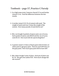 the 4 operations of decimals word problems u2014 the davidson group