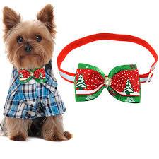 dog ribbon adjustable christmas pet bowtie ribbon dogs cats bow tie handmade