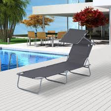 Outdoor Reclining Chairs Outsunny Reclining Chair Folding Lounger Garden Outdoor Adjustable