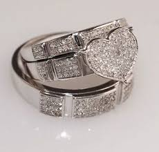 wedding rings sets his and hers his and wedding ring sets u0026 white gold heart trio set