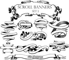 scroll banners decorative photoshop brushes brushlovers