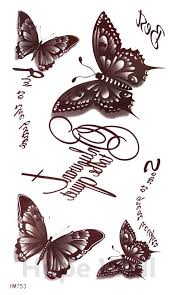 1pcs temporary henna tattoo words butterfly brown tatttoo sticker