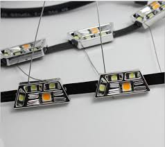 led strip lights headlights 2pcs white yellow 8w daytime running lamp switchback flexible led