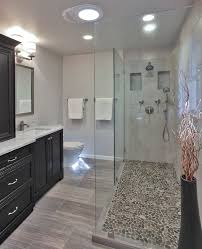 Open Shower Bathroom Design Best 25 River Rock Shower Ideas On Pinterest River Rock