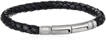 fossil black leather bracelet images Fossil men 39 s black skinny braid bracelet bracelets clothing jpg