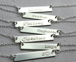 sterling silver nameplate necklace silver bar necklace name plate necklace dainty bar necklace