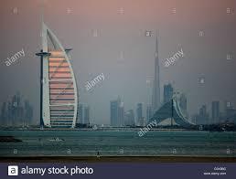 skyline of dubai left burj al arab and jumeirah beach hotel