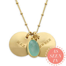 Stamped Name Necklace Gold Name Necklace Sea Green Chalcedony Hand Stamped
