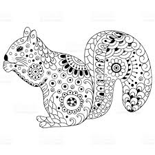 doodle stylized squirrel sketch for coloring book poster print or