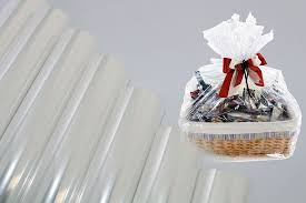gift basket wrapping paper cellophane bopp clear plain no printing gift wrapping paper
