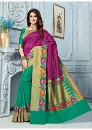 Buy Violet Embroidered Art Silk Festival Wear Embroidery Work Art Silk Sarees Collection Catalog