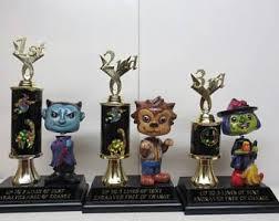 pumpkin scarecrow trophies halloween decor costume contest