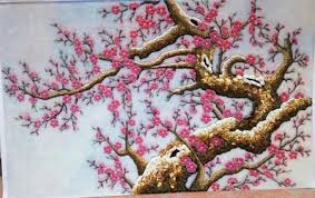 gemstone painting peach blossom 4 picture artgemstone painting