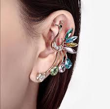 one ear earring multicolor peacock earrings sale one hanging