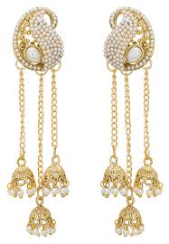 jhumki style earrings pearl jhumka style layered earrings jpm2146
