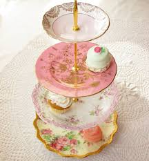 alice loves a pink wedding large 4 tiered vintage china plates