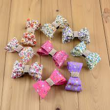 fabric bows 100pcs lot 2 5 printed gorgeous stiff fabric bows with
