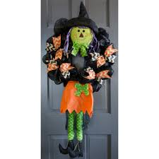 Halloween Witch Wreath by Plush Smiling Witch Wreath Accent Orange 9725268a Craftoutlet Com