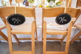 Bride And Groom Chair Signs Wedding Signs For The Newlyweds U0027 Chairs At The Reception Inside