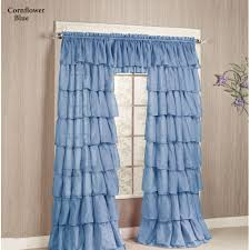 White Ruffled Curtains For Nursery by Gypsy Sheer Voile Ruffled Window Treatment