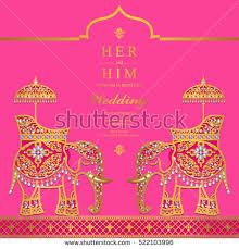 Wedding Card India Indian Wedding Card Elephant Gold Pattern Stock Vector 523065121