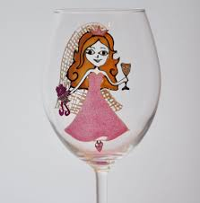 champagne glass cartoon personalised bride s wedding gift princess design wine glass