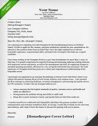 Resume Job Application Letter by Housekeeping And Cleaning Cover Letter Samples Resume Genius