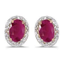 ruby stud earrings 14k yellow gold oval ruby and diamond earrings stud