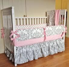 crib bedding baby bedding set pink gray damask made to