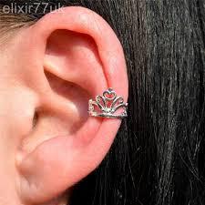 cartilage cuff earrings silver princess tiara crown ear cuff helix cartilage