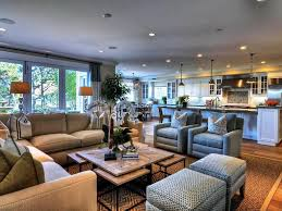 open floor plan living room dining room