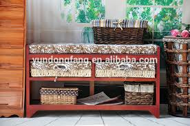 bedroom furniture wood storage ottoman bench stool with wovn