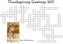 thanksgiving crossword 2017 recollections