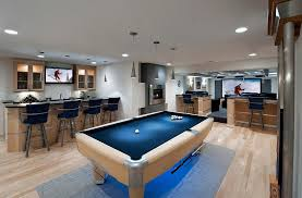 Smart Pool Table Designs Ideas Smart Basement Bar With Curved Bar Table And