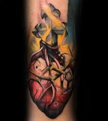 100 sacred heart tattoo designs for men religious ink ideas
