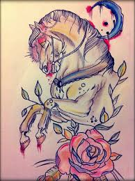 traditional colorful horse with half moon and rose flower tattoo
