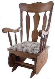 Upholstered Rocking Chairs Amish Indoor Glider Solid Oak Or Cherry Wood Gliders