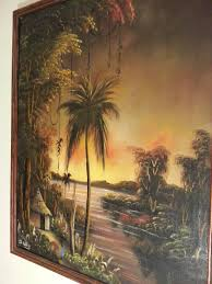 ch kalala kenyan african oil painting on stretched canvas 1960s