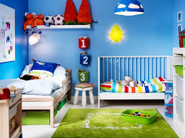 interior design bright shared kids bedroom from ikea also cute