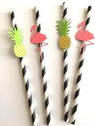 Paper Pineapple Decorations 10 Gold Pineapple Straws On Paper Straws Destination Wedding