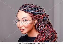 afro plaits women hairstyle colorful hair extensions braided stock photo