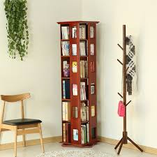 ems free solid wood furniture 360 rotating bookshelf creative