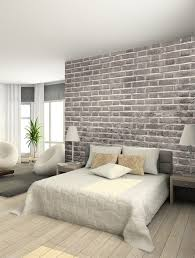 papier peint trompe l oeil chambre decoration papier peint trompe loeil briques mur grand lit chambre