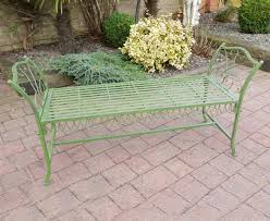 antique green wrought garden bench stool vintage style