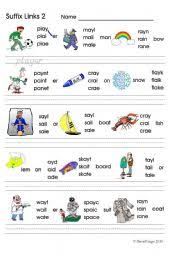 suffix links 2 ay ay a e phonics worksheet