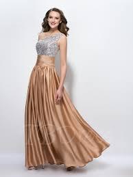 one shoulder sequins beading a line floor length prom dress